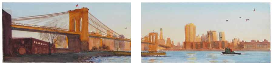 The Brooklyn Bridge at Dawn (study for diptych)