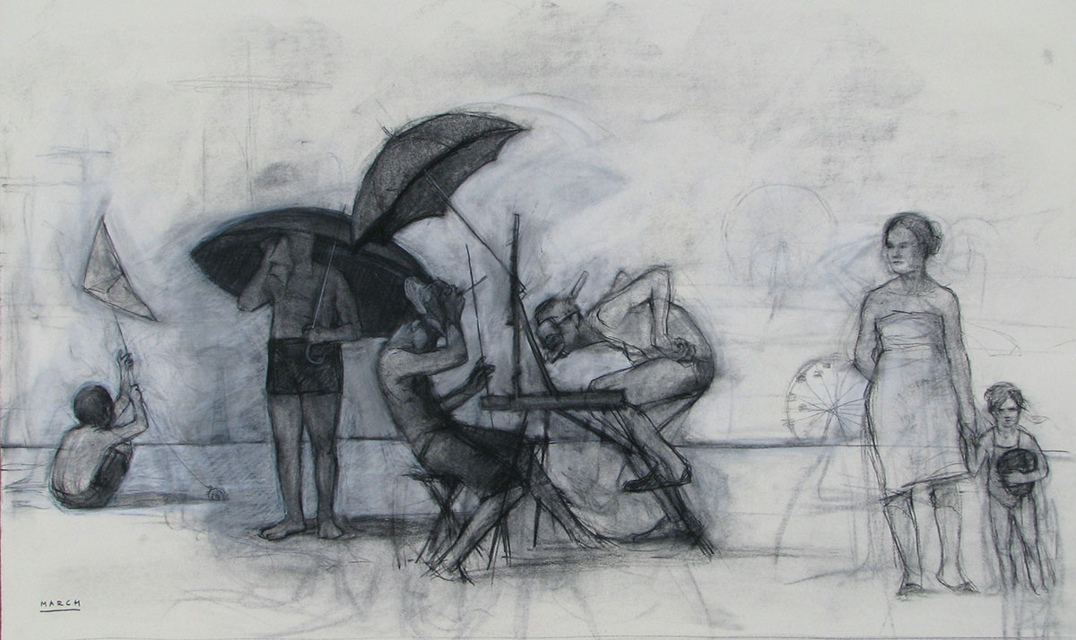 Study for Artist and Family on Beach